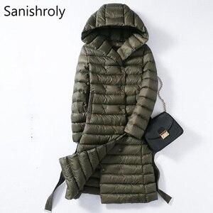 Image 2 - Sanishroly 2018 White Duck Down Jacket Tops Women Sashes Long Ultra Light Down Coat Parka Female Hooded Outerwear Plus Size 288
