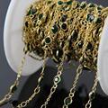 5 м/лот  зеленые стеклянные граненые плоские круглые бусины  цепи для монет  позолоченные проволочные обернутые стеклянные цепочки  браслет ...