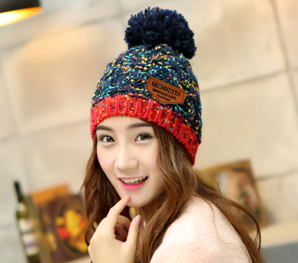 Fashion Woman's Warm Woolen Winter Hats Ladies Knitted Fur Cap Sooner State Letter   Skullies     Beanies   4 Color Hot