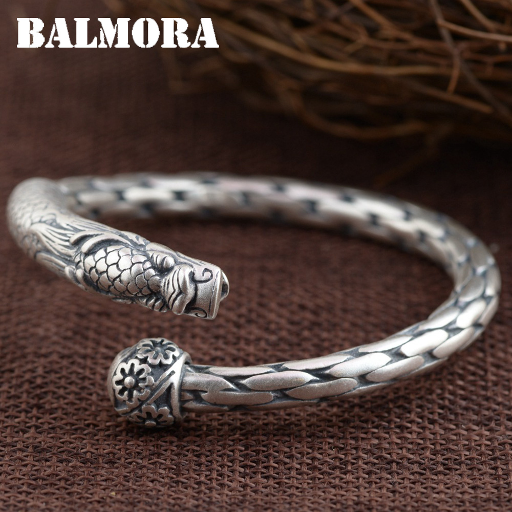 BALMORA 990 Pure Silver Dragon Head Open Bangles for Men Gift about 18cm Vintage Ancient Animal Thai Silver Jewelry SZ0351