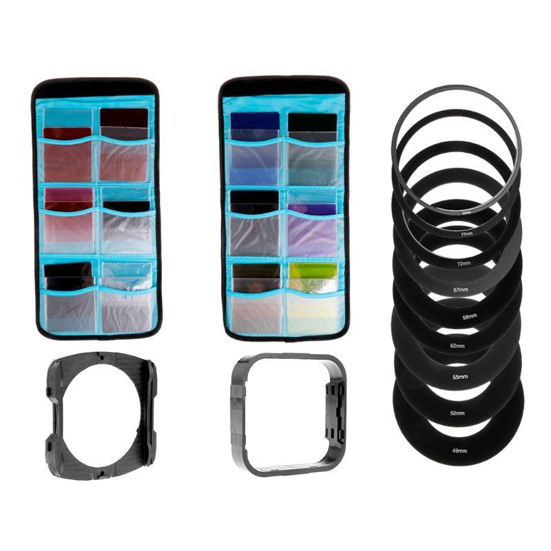 24 Color Filter Sets Filters Ring Adapter Lens Kit Bundle With Square Graduated Filter Holder
