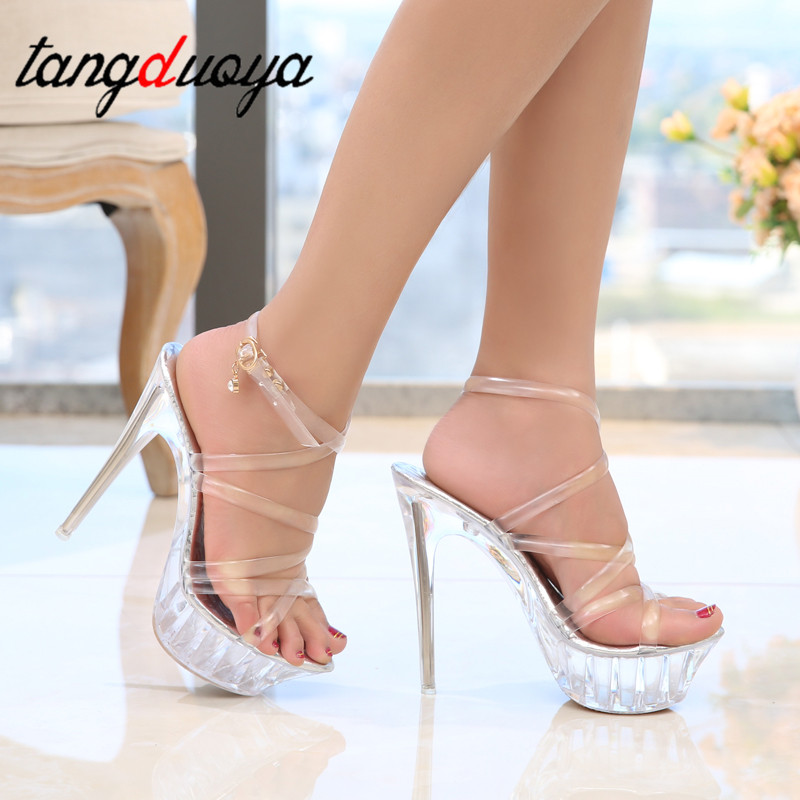 cf3c360ffb7 2019 Summer Platform Sexy Pvc buckle Sandals Shoe for Stripper Pole Dance  Women Large Size High Heel Big Pump Lady Female Plus -in High Heels from  Shoes on ...