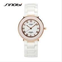 Reloj de Las Mujeres SINOBI Marca de Moda de Lujo Blanco De Cerámica Reloj de Cuarzo Resistente Al Agua Ocasional Reloj Relojes Mujer Señoras Reloj 1150