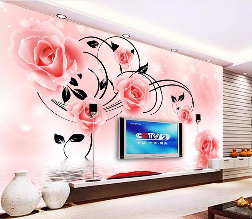 Custom mural photo 3d wallpaper  rose flower reflection TV decor painting 3d wall murals wallpaper for living room wall 3 d
