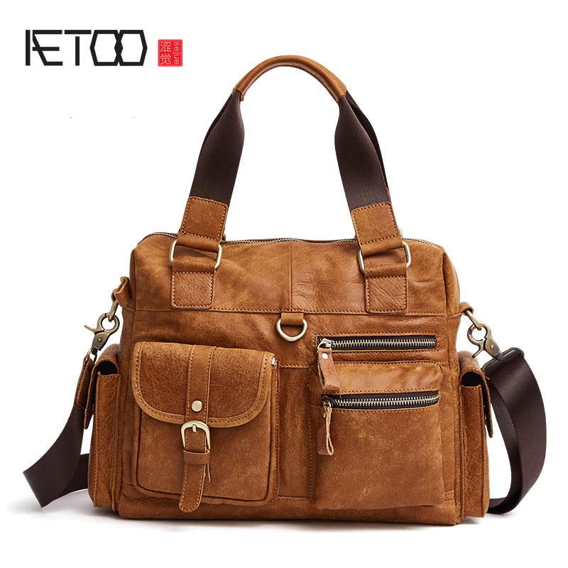 AETOO The new leather men and women in Europe and the United States fashion casual men Messenger bag handbag first layer of leat europe and the united states style first layer of leather lychee handbag fashion retro large capacity solid business travel bus