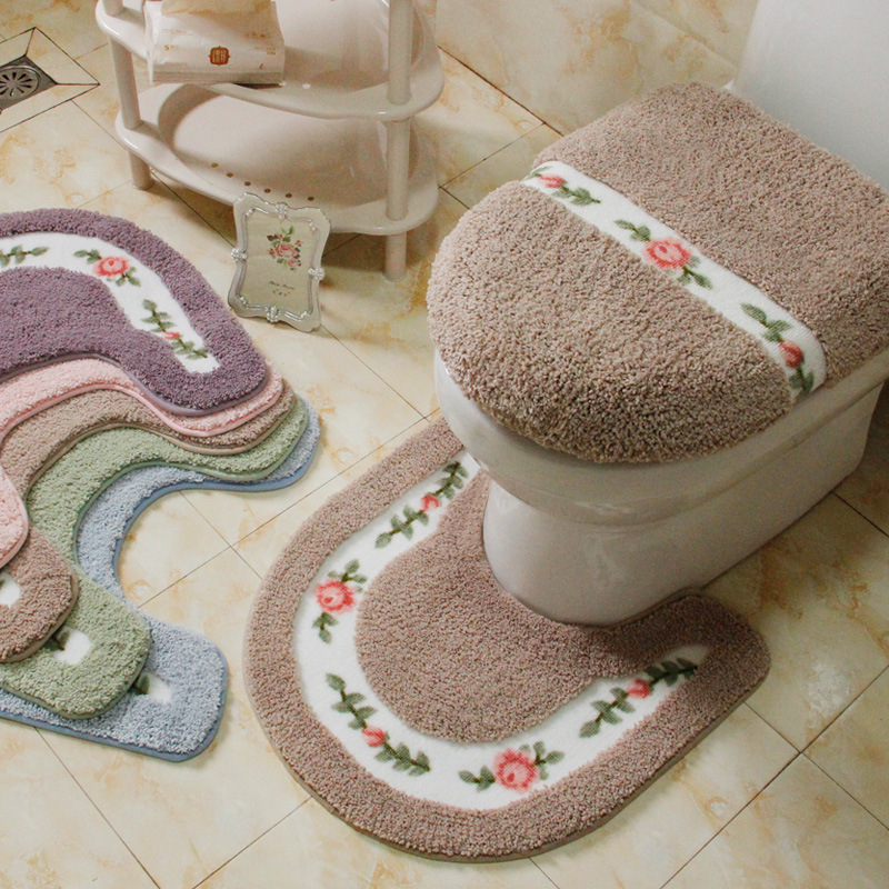 Pastoral Style Toilet Rug Flower Pattern Bathroom Mat Set U Shape Toilet Carpets Floor Decor Bath Mat Set Fiber Toilet Lid Cover
