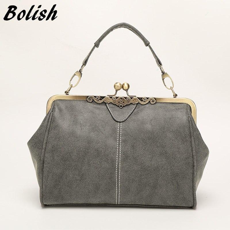 Bolish New Arrival  vintange Women Top-Handle Bags/Fashion Women Messenger Bags/Leather Handbag  Women Shoulder Bag  Metal Bag