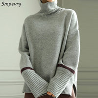 Smpevrg winter turtleneck thick knitted sweater women sweaters and pullovers long sleeve warm women pullover female knitted tops