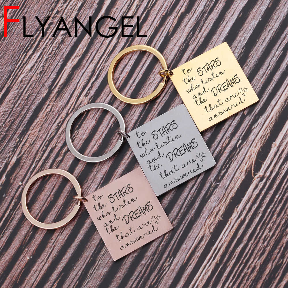 New Design Accessories Lettering Key Chains Keys Holder Key Tag To The Star  Who Listen and the dreams that are answered keyring