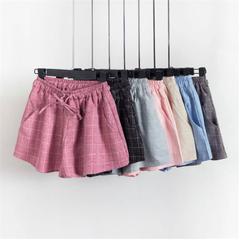 8 Colors Summer Plaid   Shorts   Women Fashion Lace Up Elastic Waist Women   Shorts   Casual Cotton Linen Beach Wide Leg   Shorts   C4321