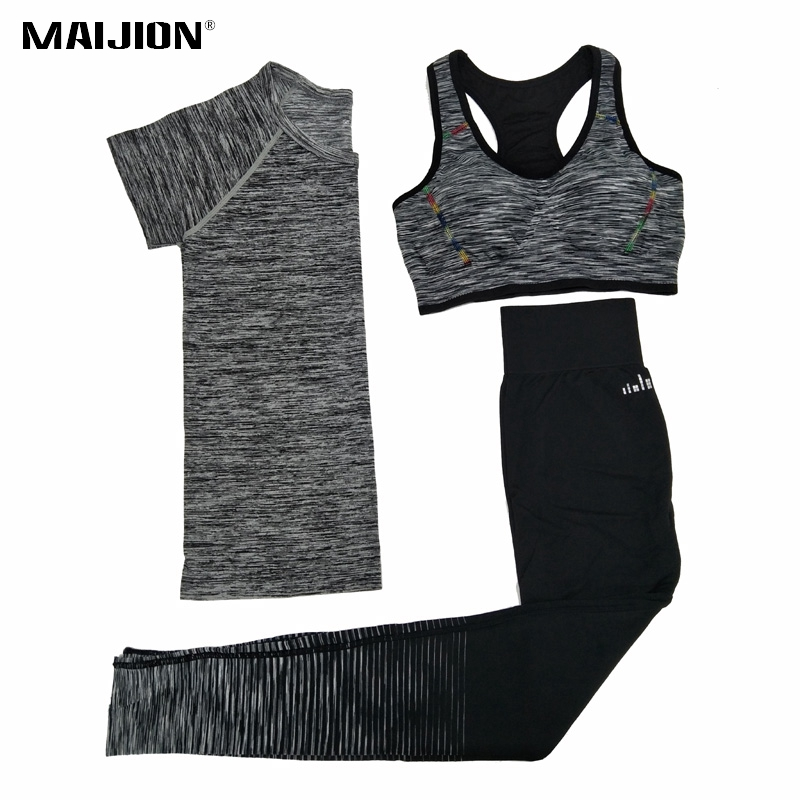 MAIJION Women Quick Dry Yoga Sets for Gym Running Yoga T-Shirt Tops & Sports Bra Vest & Fitness Pants Workout Sports Suit Set quick drying gym sports suits breathable suit compression top quality fitness women yoga sets two pieces running sports shirt