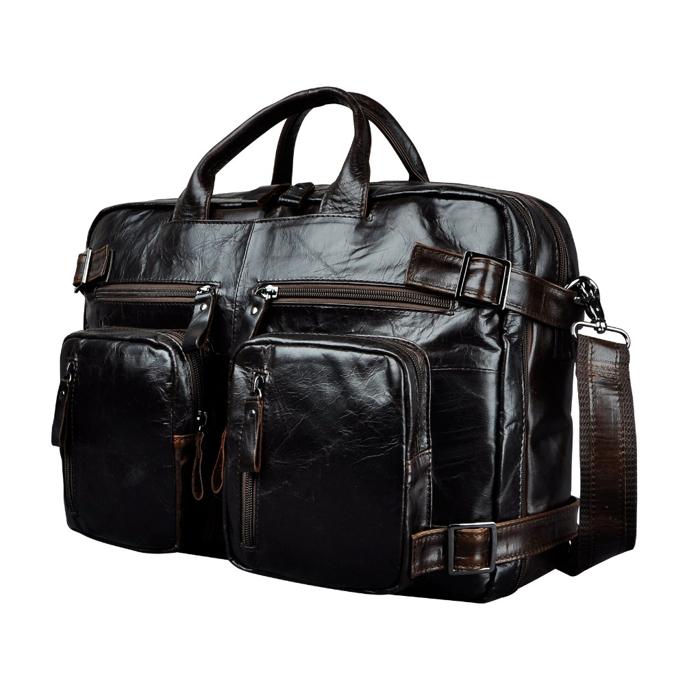 "Genuine Leather Man Design Multifunction Purpose Maletas Maletin Business Briefcase 15"" Laptop Bag Tote Portfolio Bag K1013"