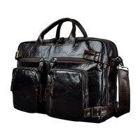 Real Leather man bag design multifunction purpose Large Capacity commercial briefcase 15 laptop bag Tote Portfolio bag k1013