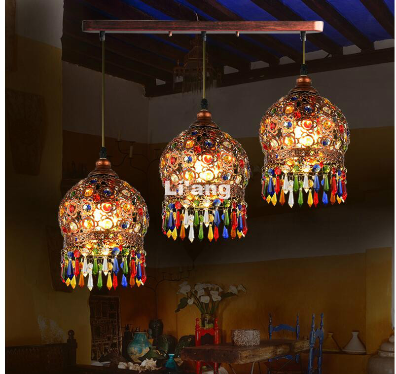 Free Shipping Antique Colorful Crystal Pendant Lamps Lighting Bohemian Style Semicircel Iron Ceiling Pendant lamp, AC 110-240V