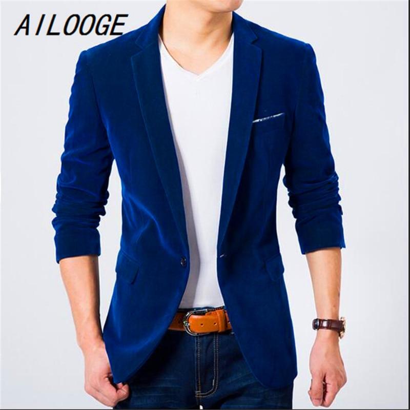 AILOOGE Mens Blazer Slim Fit Suit Jacket Black Navy Blue Velvet 2017 Spring Autumn Outwear Coat Free Shipping Suits For Men
