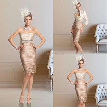 New Mermaid Strapless Knee-length Two Piece Mother of the Bride Dress 2015 Plus Size Champagne Evening Dresses color