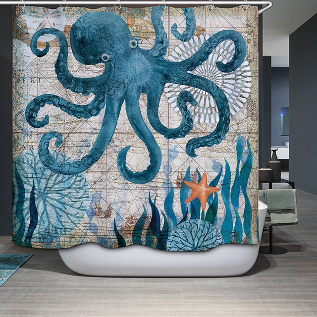 Smiry 2017 Hot Sale Funny Octopus Seahorse Polyester Waterproof Shower Curtain Cute Turtle Whale Fabric