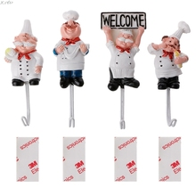 1PC Cute Door Hook Adhesive Stainless Steel Towel Hooks Kitchen Cabinet Clothes Hats Bag Hanger Home Wall
