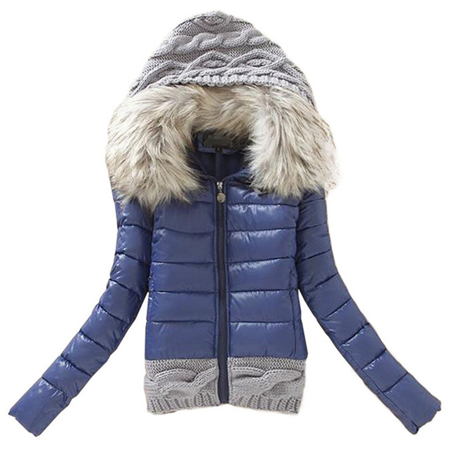 Women Winter Coat Cotton Padded Jacket Short Knitted Hood Fur Collar Womens Winter Jackets and Coats jaqueta feminina F1001