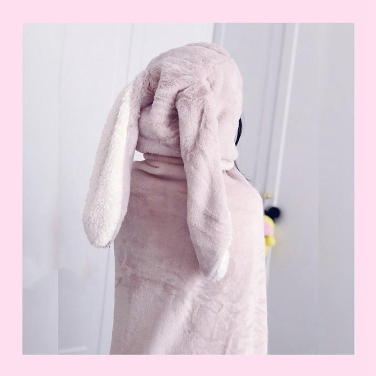 Cute Pink Comfy Blanket Sweatshirt Winter Warm Adults and Children Rabbit Ear Hooded Fleece Blanket Sleepwear Huge Bed Blankets 61