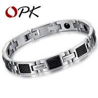 OPK JEWELRY Fashion Gift Magnetic Bracelet Stone Inlay Health Balance STAINLESS STEEL MEN BRACELET Healthy Men Jewelry, n3356