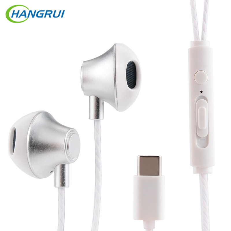 HANGRUI Type-C Earphone in-ear stereo earphones with MIC USB type-c headset For Xiaomi Mi6 5X Letv 2 Pro Huawei P9 smartphone original xiaomi hybrid earphone units with mic remote in ear hifi earphones with mic circle iron mixed for xiaomi redmi mobile