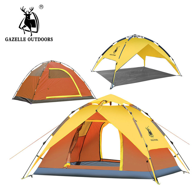 GAZELLE OUTDOORS Camping tents Rainproof Hydraulic automatic family tents Waterproof Double Layer Tent Outdoor Hiking large