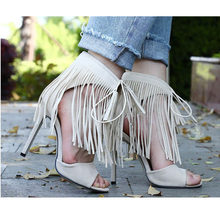6c209d4cf48aa5 Summer cool fringes sandals 2018 hottest fashionable tassels lace up ankle  strap design open toes high heeled party women shoes