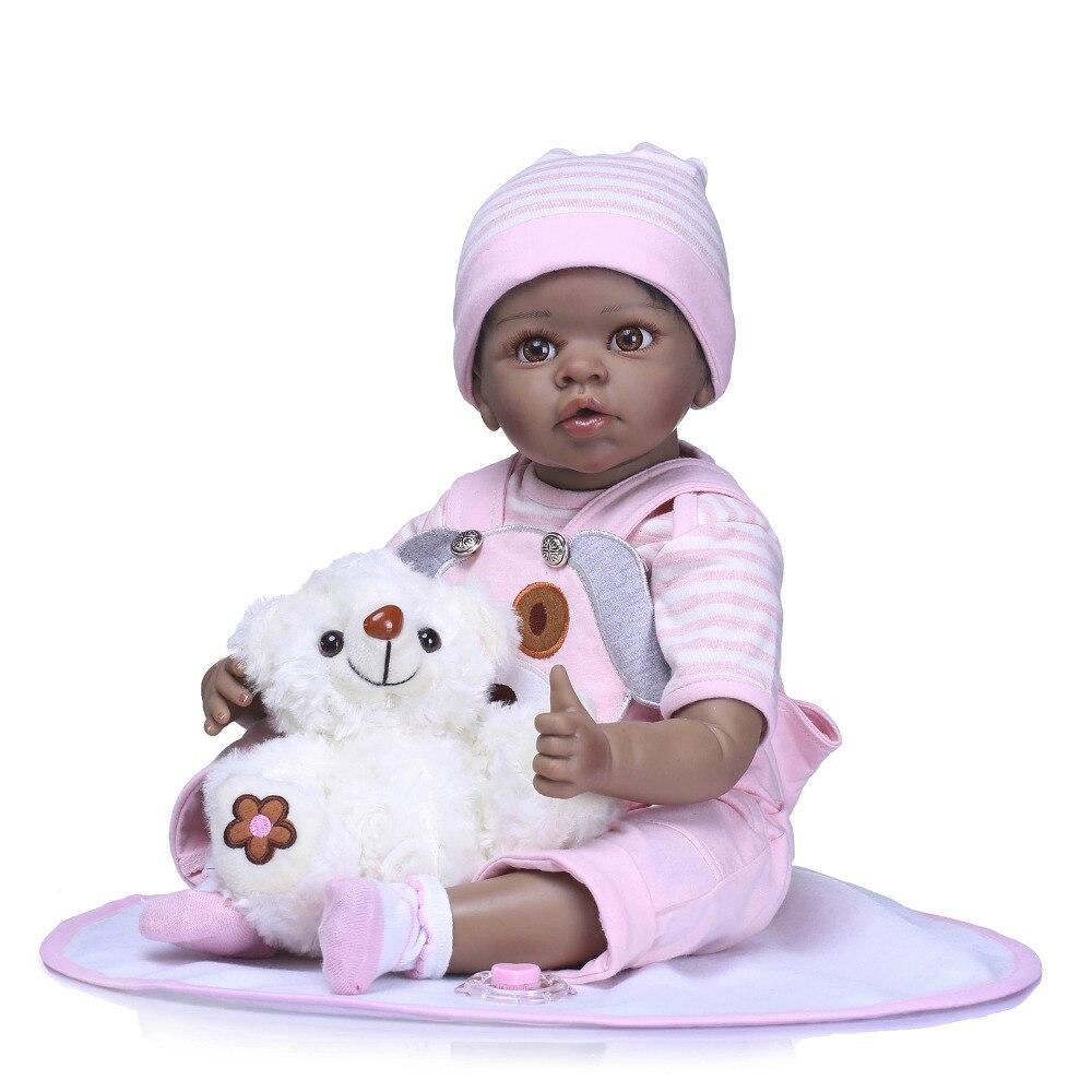 все цены на Nicery 20-22inch 50-55cm Bebe Reborn Doll Indian Style Soft Silicone Boy Girl Reborn Baby Doll Toy Gift for Child Pink Clothes онлайн