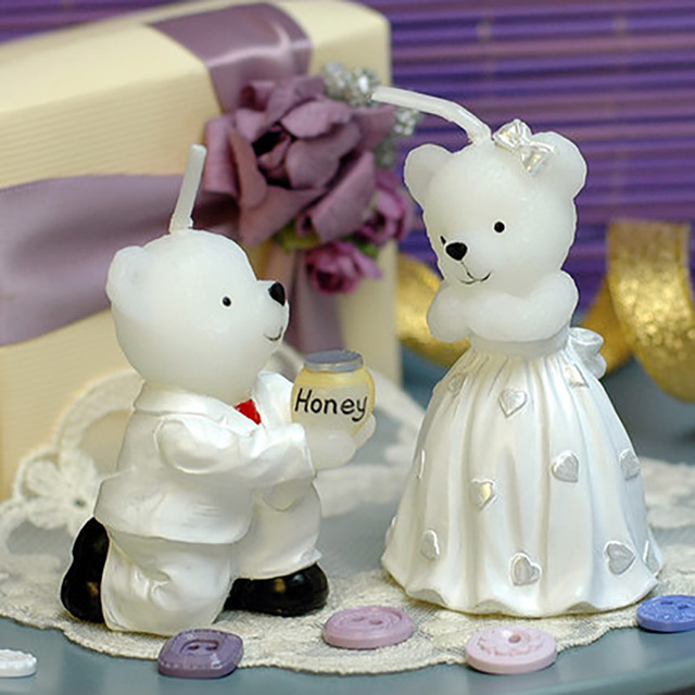 Romantic Bear Proposal Birthday Candle Wedding Cake Topper Bridal Shower Favors Princess Party