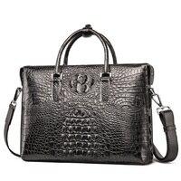Luxury High quality Crocodile Genuine Leather Laptop bag Men 13.3 inch Messenger bag Shoulder Man bag 2018 Made by hand