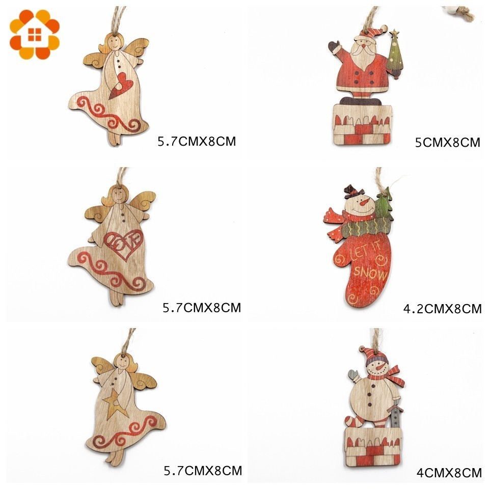 12PCS Box Creative Wood Craft Santa Claus Angel Wooden Pendants Ornaments Christmas Party Decorations Tree Ornaments Gift Box in Pendant Drop Ornaments from Home Garden
