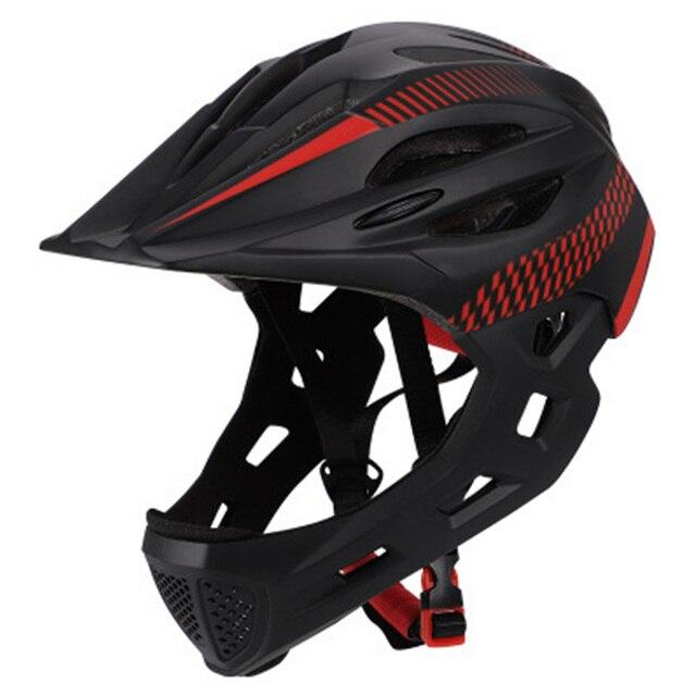 Crianças led rosto cheio mountain bike capacete equilíbrio bicicleta esportes segurança crianças completa coberto capacetes downhill scooter bmx criança 46-53cm 1