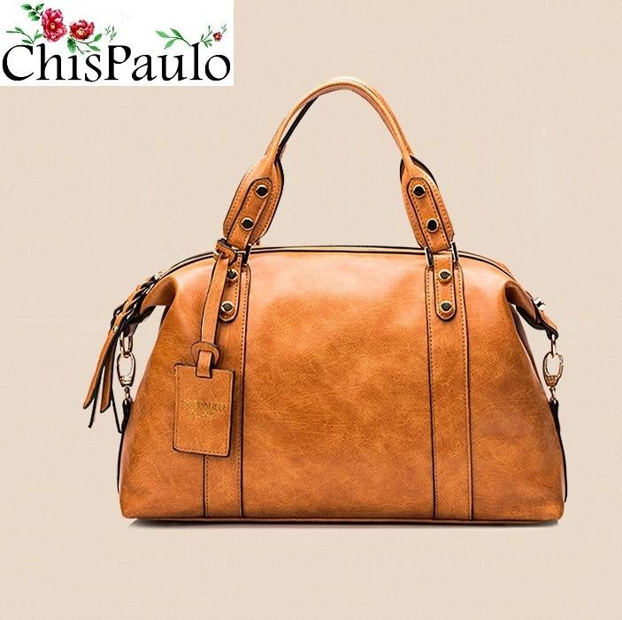 CHISPAULO Women Bags 2017 Luxury Brand Designer Handbags High Quality Business Cow Genuine Leather Handbags Messenger Bags X37