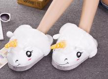 New Plush Unicorn Cotton Home Slippers for White Despicable Winter Warm Chausson Licorne Indoor Christmas Slippers Fit Size36-41