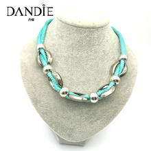Dandie New Style Handmade Blue Line Short Necklace For Women, CCB Bead Statement