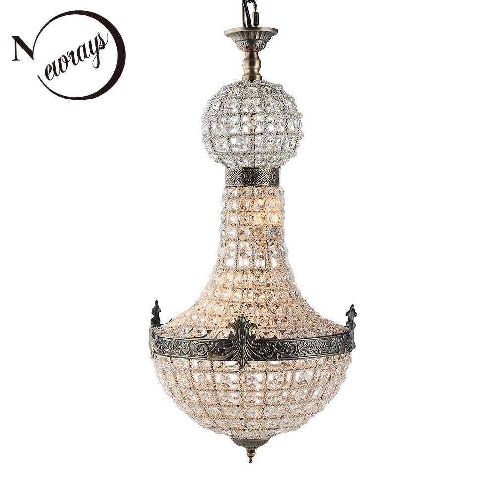Vintage Royal Empire Cristallo di Vetro LED Moderna Europa Lampada Lampadario Lustri Luci G9 Per soggiorno camera da letto cucina cafe negozio