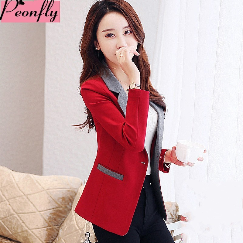 PEONFLY  high quality Autumn Spring Women's Blazer Elegant fashion Lady Blazers Coat Suits Female Big S-3XL code Jacket Suit