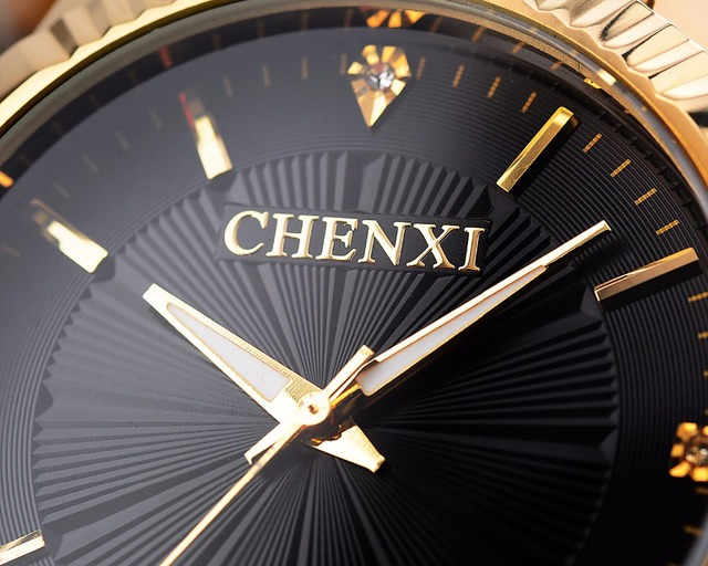 CHENXI Luxury Brand Man Gold Dress Watches Stainless Steel Unique Golden Woman Men Business Quartz Wristwatch Waterproof 050A