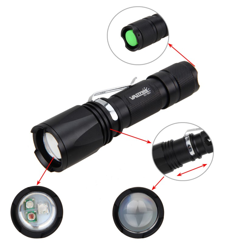 VastFire Weapon Lights 600 Lm T6 LED Zoomable 3 in 1 Green Red UV Hunting light 18650 Tracker Flashlight for Hunting in Weapon Lights from Sports Entertainment