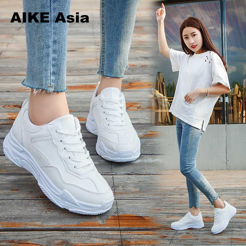 New 2018 Spring Fashion Women Casual Shoes Suede Leather Platform Shoes Women Sneakers Ladies White Trainers Chaussure Femme(China)