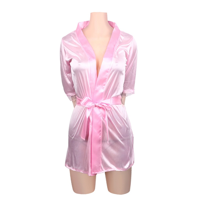 Sexy Large Size Satin Night Robe Lace Bathrobe Perfect Wedding Bride Bridesmaid Robes For Women