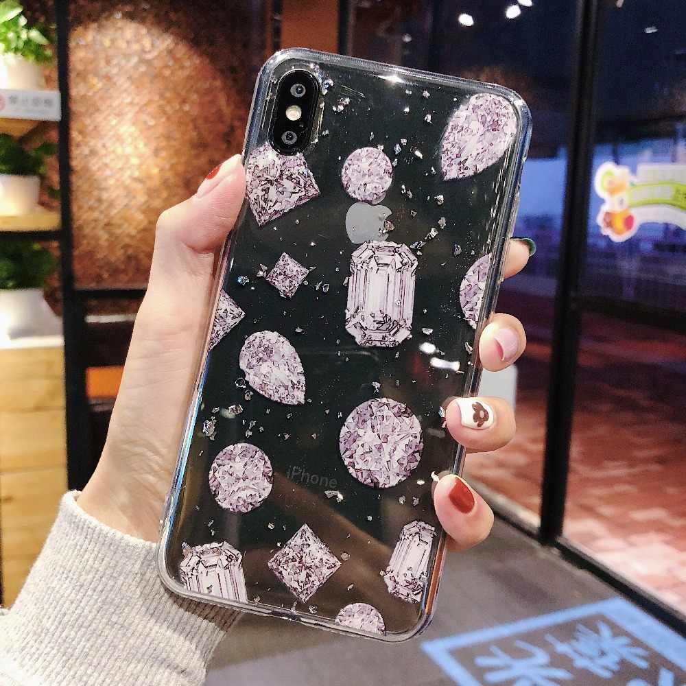 Мягкий силиконовый чехол с кристаллами и алмазной текстурой для iPhone 8, 7, 6, 6s Plus, 10 X, XS, MAX, XR, прозрачная Золотая фольга, доллар, деньги, чехол для девушек