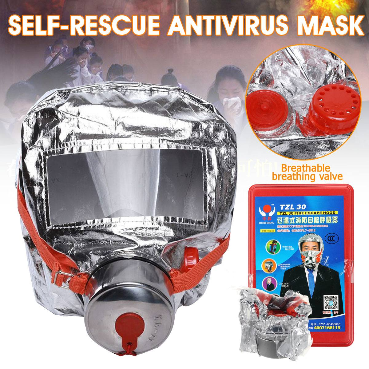 Smoke Fire-Mask Filtering Respiratory Protective Devices for Hotel Household Firefighting Escape Self-rescue Antivirus Mask