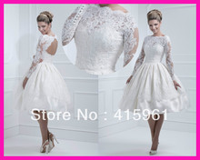 2014 Short Ball Gown Lace Open Back Bridal Wedding Dress Knee Length With Long Sleeves W2176 baby blue knee length open back long sleeves organza flower girl dresses with bow baby birthday party gown with pearls crystals
