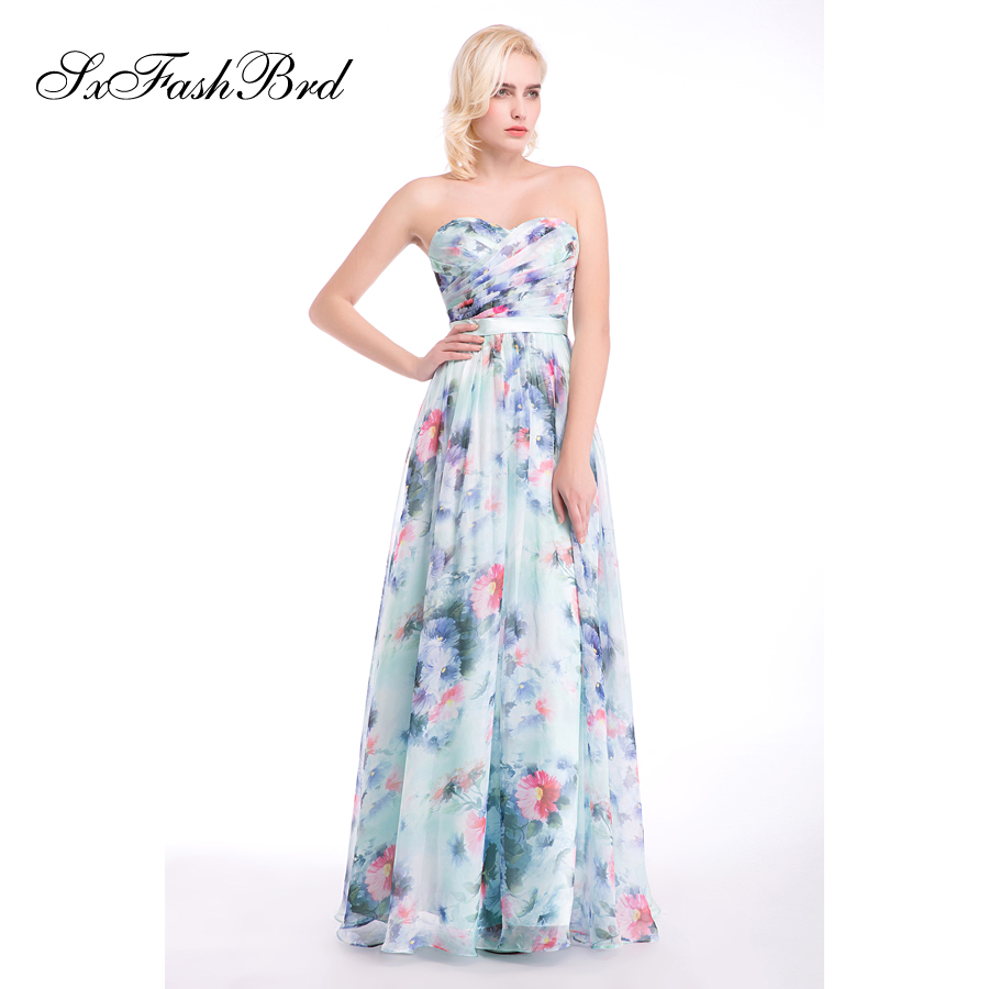 Vestido De Festa Sweetheart A Line Summer Print Flower Chiffon Long - Հատուկ առիթի զգեստներ - Լուսանկար 3