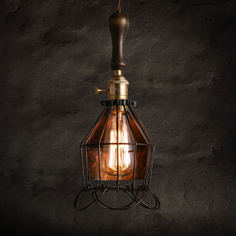 Warehouse Retro vintage iron pendant lights lamparas American Cafe Restaurant Cage Bar light Lamp Single Head black pendant Lamp vintage iron pendant light industrial lighting glass guard design cage pendant lamp hanging lights e27 bar cafe restaurant