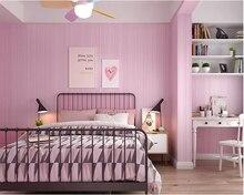 beibehang Modern minimalist vertical stripes nonwoven papel de parede wallpaper warm pink bedroom living room hotel background