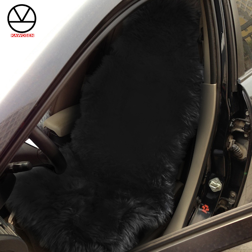 KAWOSEN 100% Natural Fur Australian Sheepskin Car Seat Covers, Universal Wool Car Seat Cushion,Winter Warm Car Seat Cover SWSC02 kawosen 2 pcs australian sheepskin fur seat cover super warm universal car seat cover 1 pair wool car seat covers cushion wscp02