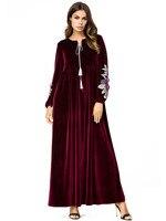 73fcb6d04fb8fa 2019 Autumn Islamic Dress Abaya Muslim Moroccan Kaftan Arabic Robe  Musulmane Velvet Long Sleeve Turkish Caftan